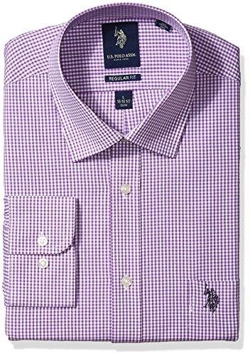 U.S. Polo Assn. Men's Regular Fit Check Semi Spread Collar Dress Shirt, Gingham Purple/White, 16