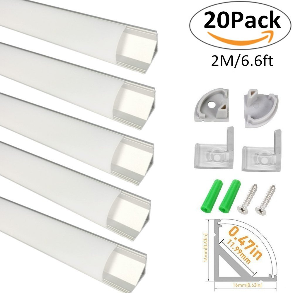 LightingWill 20-Pack V-Shape LED Aluminum Channel System 6.6ft/2M Anodized Silver Corner Mount Profile for <12mm width SMD3528 5050 LED Strips with Curved Cover, End Caps and Mounting Clips V02S2M20 by LightingWill