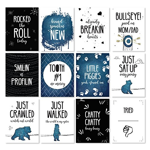 Month Card (JumpOff Jo - Baby Milestone Cards To the Moon Monthly Photo Cards - 12 Cards, 24 Milestones - Original Designs Featuring Months & Milestones)