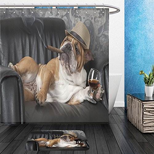 Vanfan Bathroom 2?Suits 1 Shower Curtains & ?1 Floor Mats humorous photograph of english bulldog resting in a black leather chair with a cigar and glass of 386992378 From Bath room