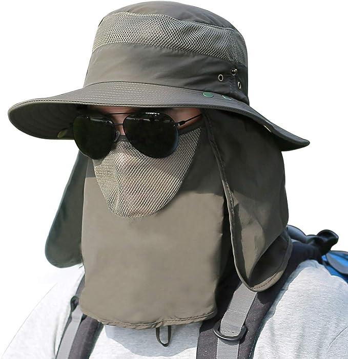 para pesca ciclismo Sombrero de sol unisex para hombre caza UPF50+ protecci/ón solar de secado r/ápido con m/áscara extra/íble antirayos UV//mosquitos transpirable