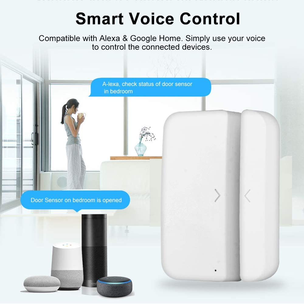 Extaum Door Alarm Window Sensor Detector WiFi Smart Home Security Tuya SmartLife App Control Compatible  Alexa Google Assistant IFTTT