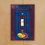 NCAA Kansas Jayhawks Royal Blue Art Glass Switch Plate Cover