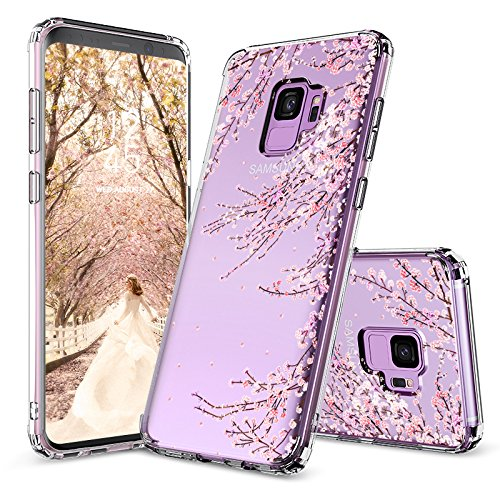 Galaxy S9 Case,Galaxy S9 Cover, MOSNOVO Cherry Blossom Floral Printed Flower Transparent Clear Design Plastic Hard Slim Back Case with TPU Bumper Protective Case Cover for Samsung Galaxy S9 (2018) (Cherry Phone Cover)