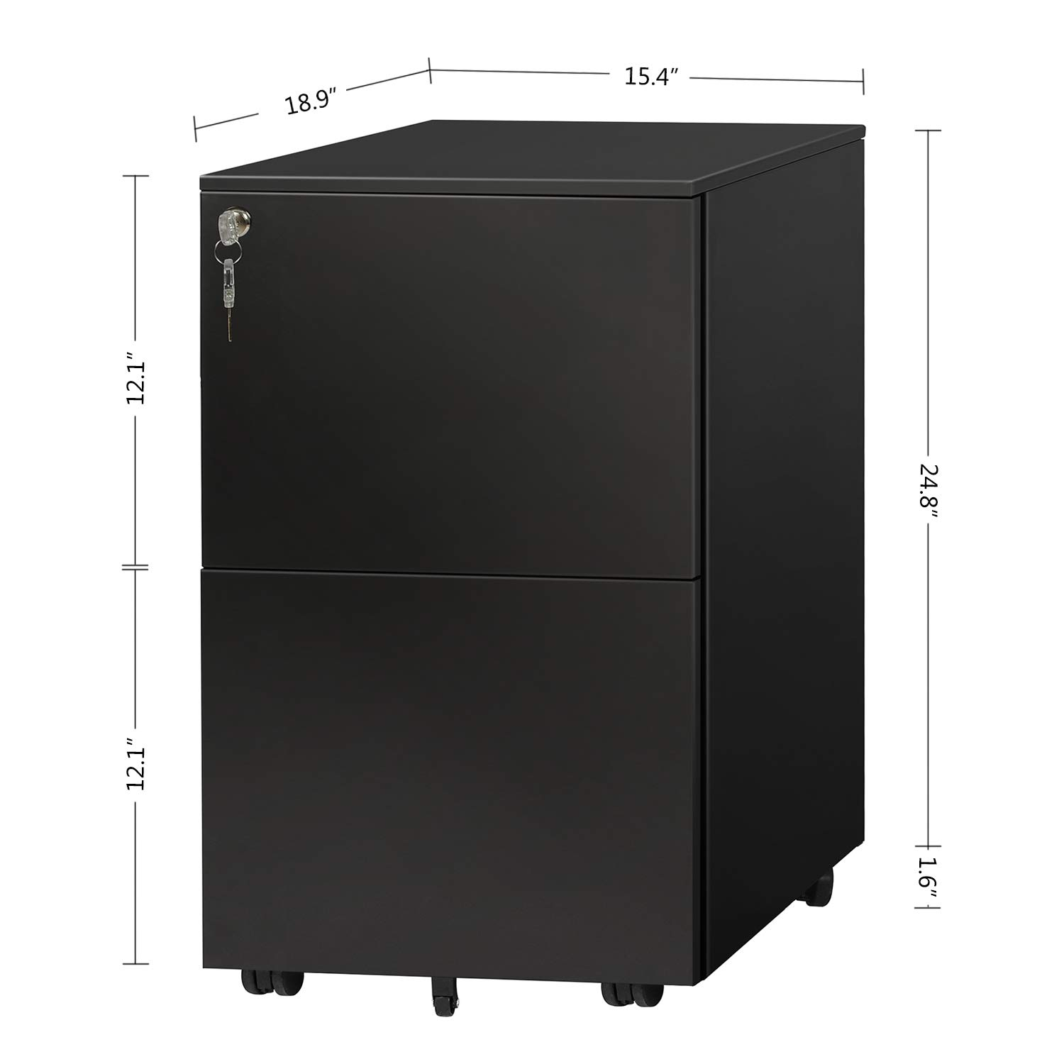 DEVAISE Locking File Cabinet, 2 Drawer Rolling Metal Filing Cabinet, Fully Assembled Except Wheels, Black by DEVAISE (Image #6)