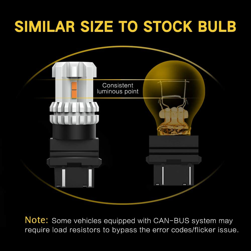 2 PACK 3157 LED Bulbs Amber Yellow Extremely Bright 3156 3047 4157 3057 LED Bulb For Turn Signal Light Compatible with Both Standard and CK Type