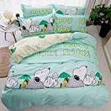 "Bed SET Beddingset Duvet Cover Set Duvet Cover No Comforter Flat Sheet Two Pillowcases 4pcs Child Mermaid Dog Mask Love Flamingo KSN King Set Size Sheet Sets (Happy Snoopy, Green, King,86""x94"")"