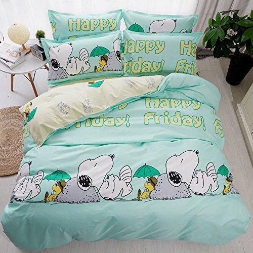 "Bed SET Beddingset Duvet Cover Set Duvet Cover No Comforter Flat Sheet Two Pillowcases 4pcs Child Mermaid Dog Mask Love Flamingo KSN Full Size Sheet Sets for Kids (Happy Snoopy, Green, Full,70""x86'')"