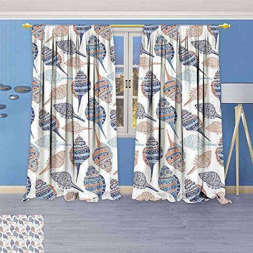 - Philiphome Antique Decor Collection,Life Themed Abstract Seashells Scallops with Bohemic Prints Marigold Navy Blue and Blue,Living Room Bedroom Curtain 2 Panels Set