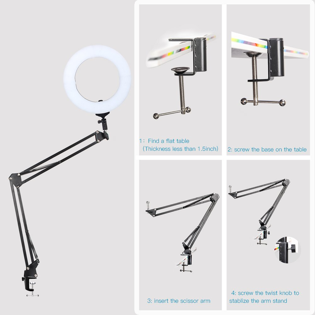 """10 in 1 Zomei 14-inch Dimmable LED Light Ring Kit with 63"""" Stand Tripod, Boom Studio Scissor Arm Stand, White Diffuser Cloth for Makeup Photography Videography YouTube Facebook"""