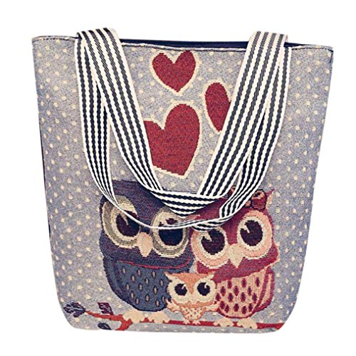 Owl Tote Bags Clearance Seaintheson Embroidered Women Vintage Shoulder Bag Handbags Cross Body Bags Postman Package Messenger Bags (010) -