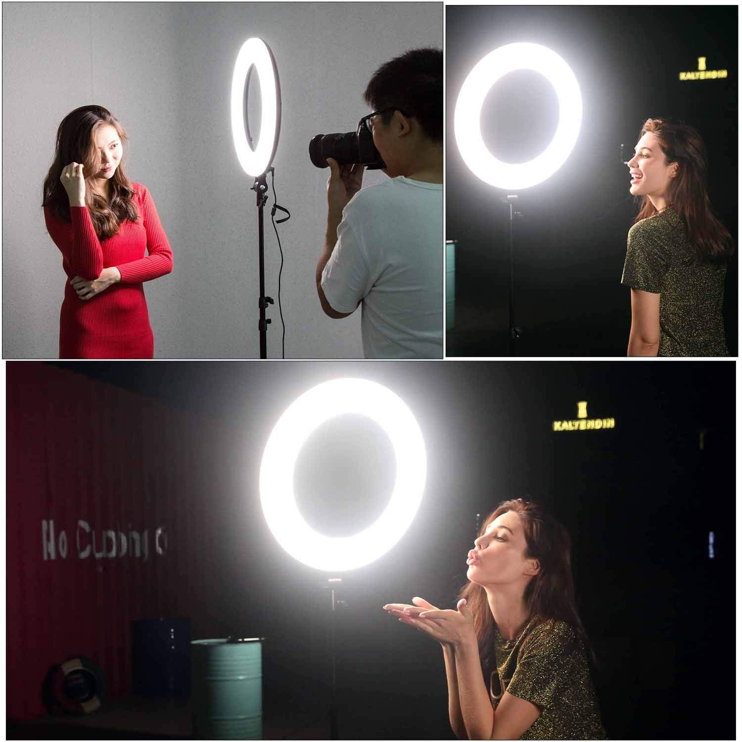 VILTROX Ring Light with Stand,18'' LED Dimmable Fluorescent Ring Light, 45W Circle Light VL-600T for Photography Video YouTube Vimeo Portrait Lighting Live Streaming, with Remoter