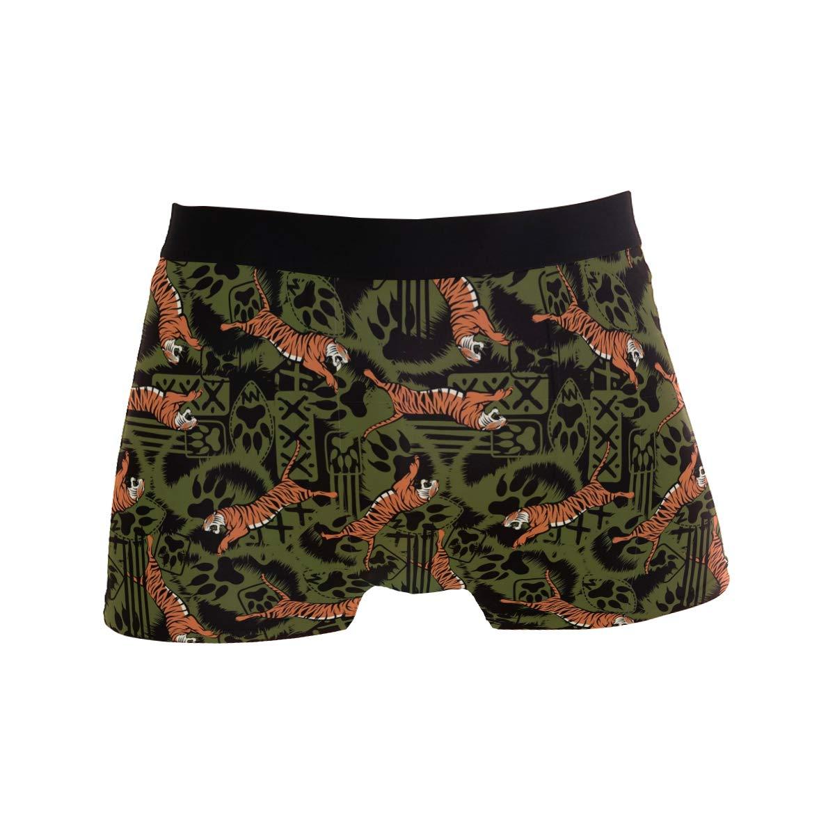 Mens Soft Breathable Wild Tiger Pattern Underwear Boxer Briefs