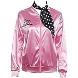 Grease Chaqueta de pink satén Disfraz de Lady Danny con pañuelo de lunares Cazadora para mujer Disfraces de 1950s ladies para Carnavales Halloween Color rosa - Nofonda