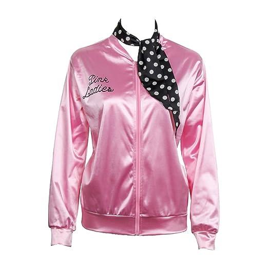 Nofonda Grease Chaqueta de Pink satén Disfraz de Lady Danny con pañuelo de Lunares Cazadora para Mujer Disfraces de 1950s Ladies para Carnavales Halloween ...