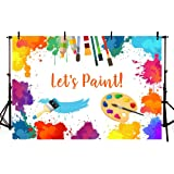 MEHOFOTO Let's Paint Birthday Party Photo Backdrop Props Painting Dress for a Mess Splatter Art Party Colorful Graffiti Wall