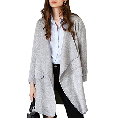 382fa183487 Chicwish Women  s Comfy Casual Wide Lapel Open Front Long Sleeve Grey  Cardigan Coat Small