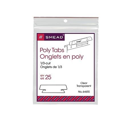 smead poly tab 13 cut clear 25 per pack 64615
