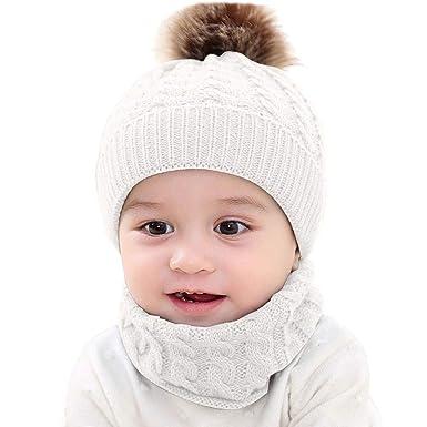DAY8 Bonnet Bébé Fille Hiver Pompom 0-24 Mois Tricotés Bonnet Bébé Garçon  Naissance Chaud 1249c5b8a07
