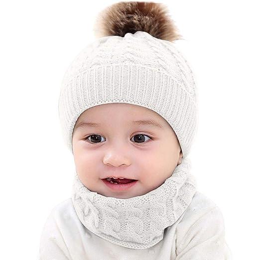 Mitlfuny Unisex Bebé Invierno Cálido Pañuelos Babero para Recién Nacido  Tejida Sombrero para Niñas Niños de 227d0669bde