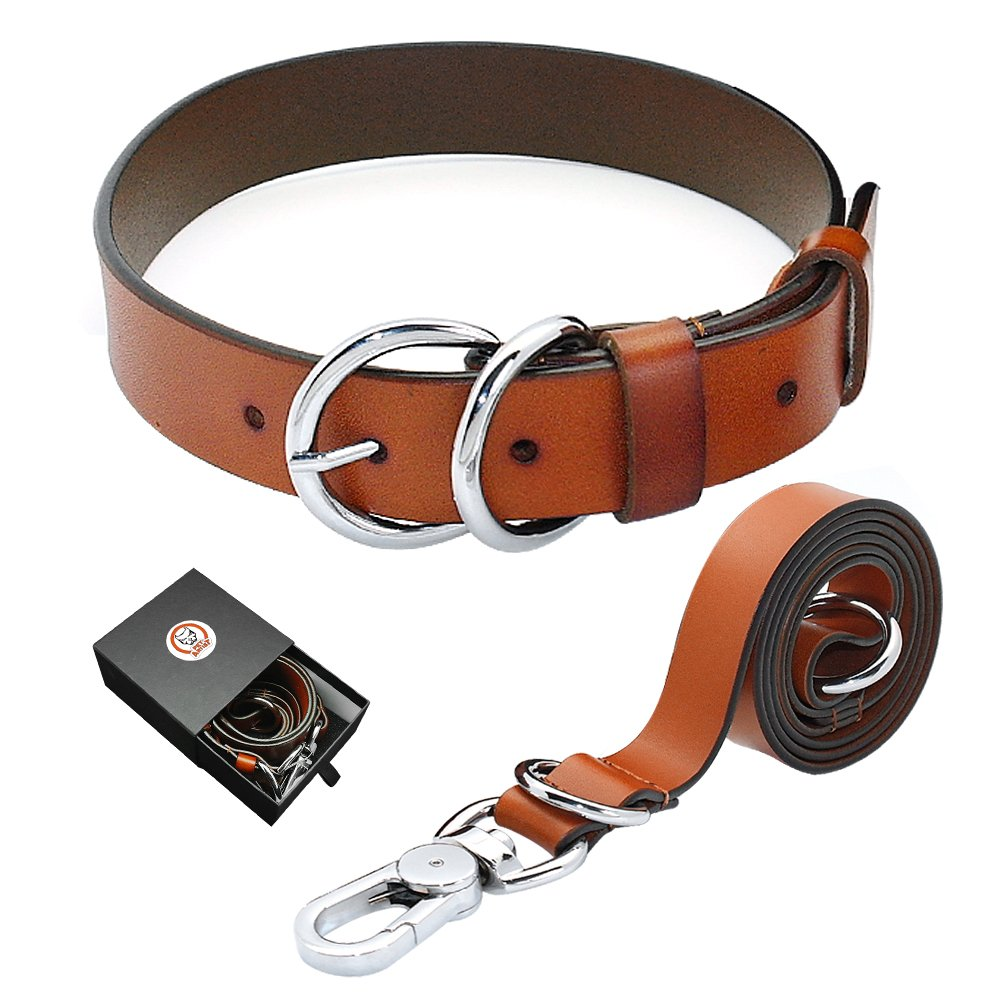 PET ARTIST Luxury Genuine Leather Dog Collar and Leash Set Extra Soft for Puppy Small Medium Large Breed Dogs Brown by PET ARTIST