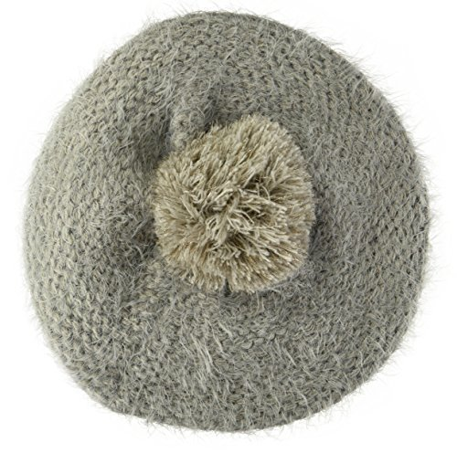 Collection XIIX Women's Electric Shine Pom Beret, Wolf Taupe, One Size