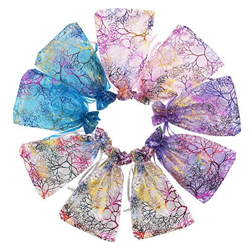 Outdoorfly 100PCS Organza Jewelry Gift Bag 4x6 Inches Purple Blue Pink with Drawstring Favor Pouches Bags for Wedding Party Baby Shower Seashell Sample Candy Small Bags(Mixed Coralline)