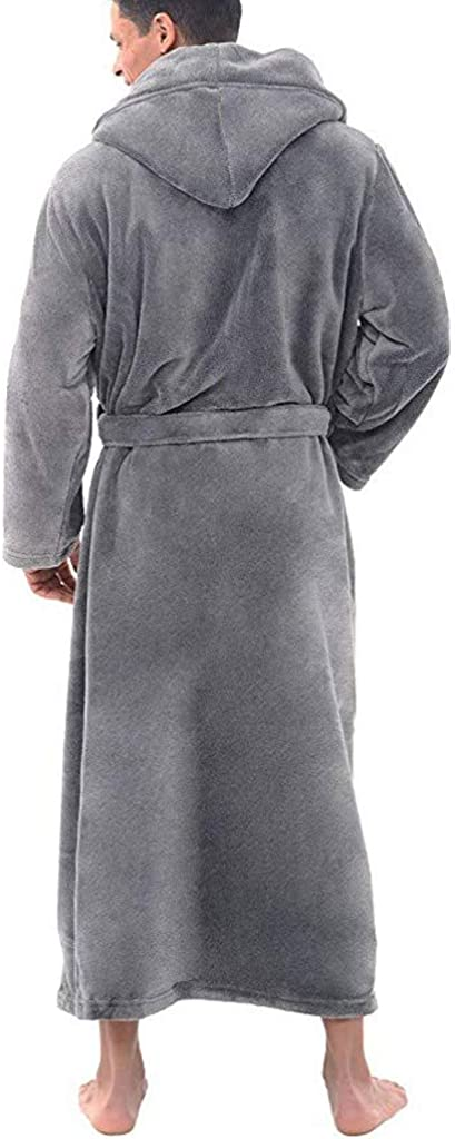 Qiran Mens Nightgown Autumn and Winter Plus Size Long Bathrobe Long Sleeve Robe Lengthened Shawl Bathrobe Coat Home Clothes Robe Coat