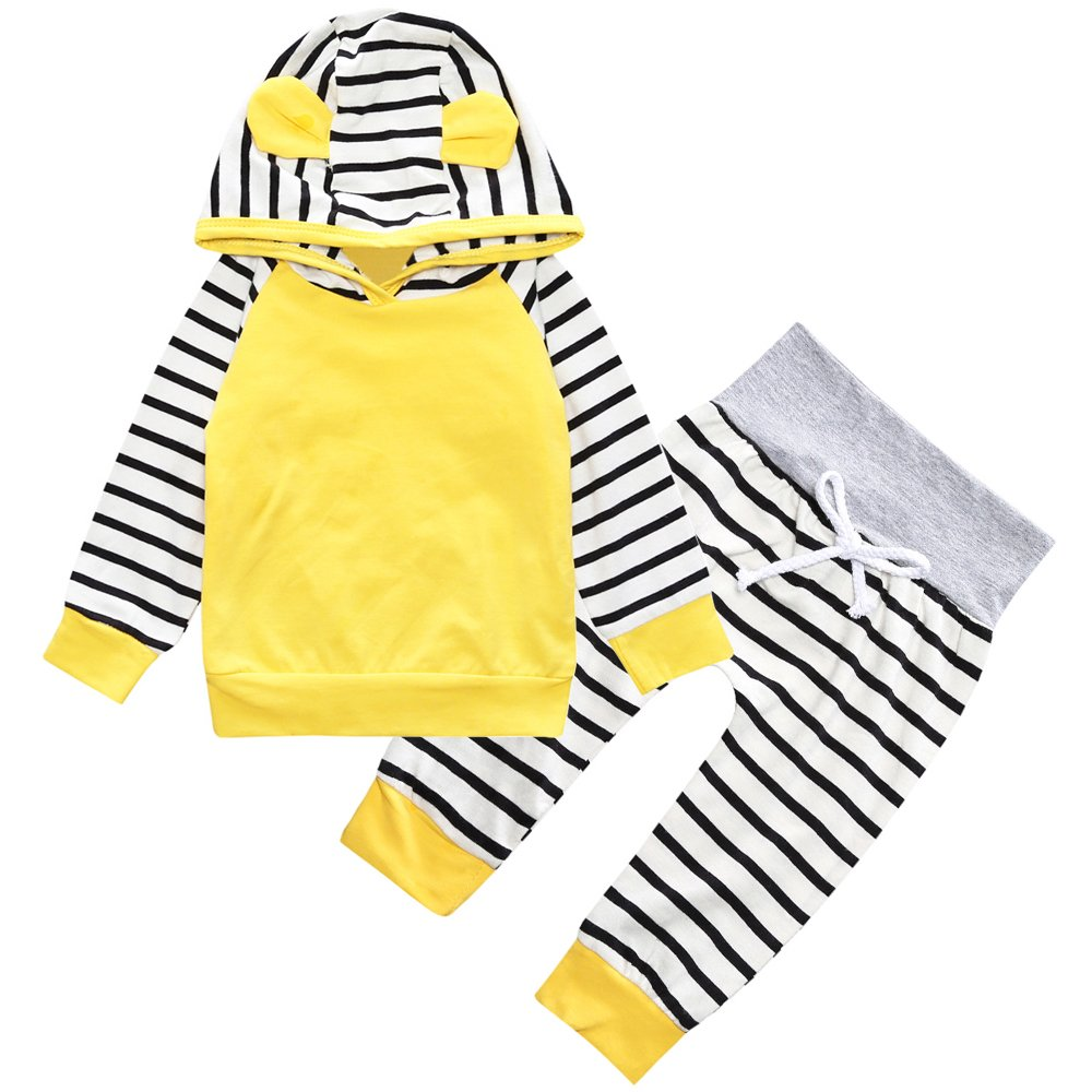 MH-Lucky Baby Infant Girl Clothes Outfits 2 Pieces with Hoodie Top and Pants (Yellow, 12-18 Months)