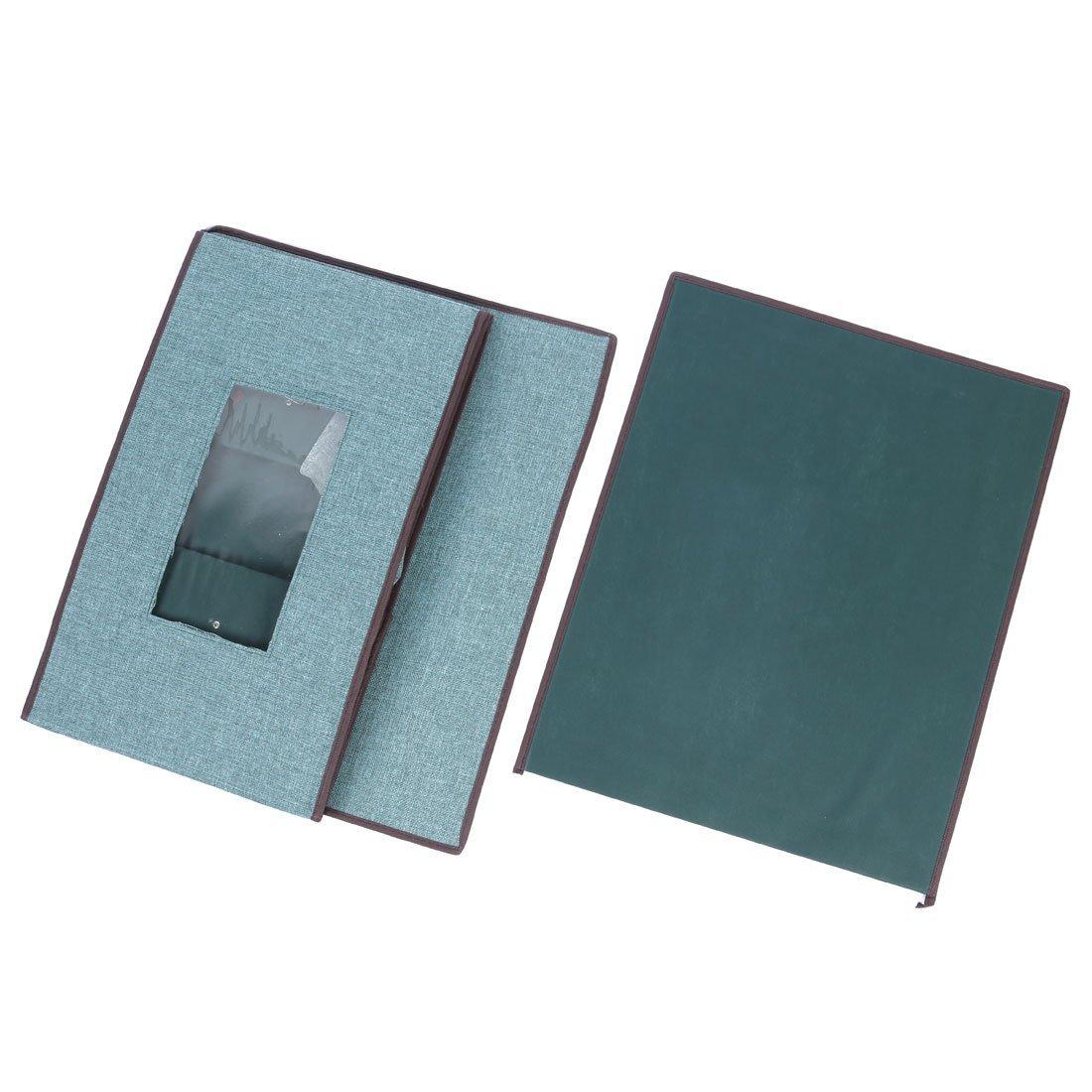 DealMux Linen Home Foldable Coat Quilt Book Holder Storage Box Case 50 x 40 x 30cm Dark Green