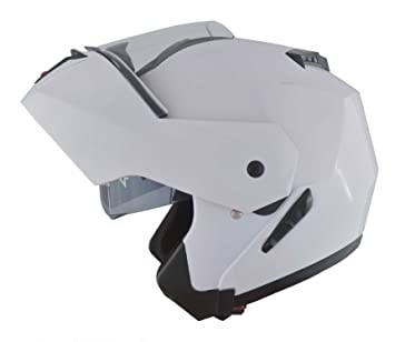 CRUIZER Casco Modular Moto Scooter con doble visera homologado ece22 – 05, color blanco,