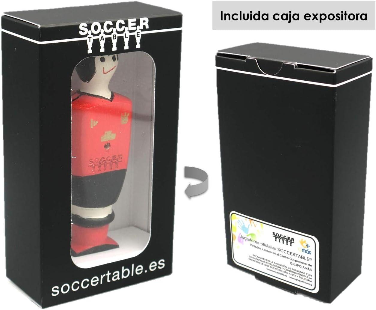 Soccer Table SL Individual Jugador de Futbolín Manchester con imán, presentado en una Exclusiva Caja expositora, Color Rojo y Negro (art-090): Amazon.es: Juguetes y juegos