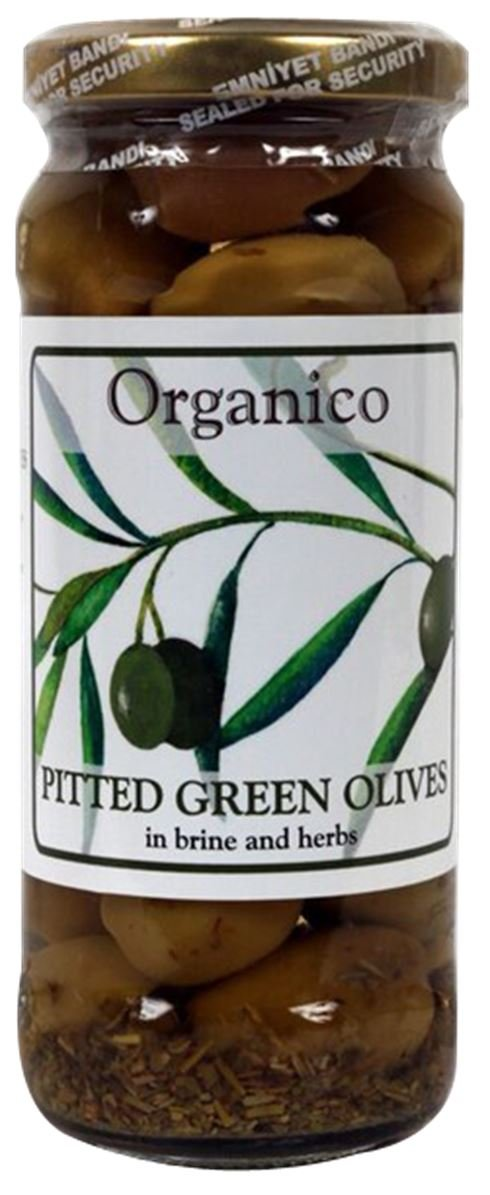 Organico Organic Pitted Green Olives In Brine And Herbs 280g (Pack of 2)