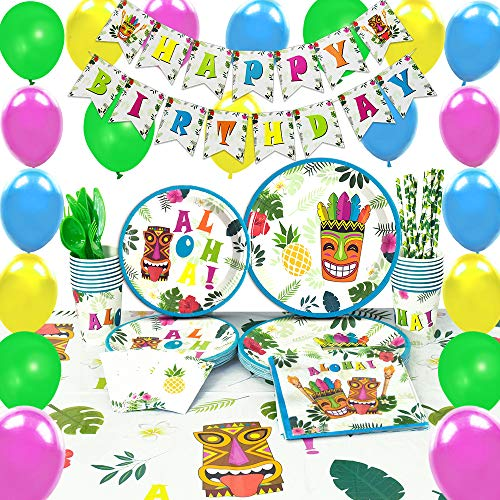WERNNSAI Hawaiian Aloha Party Supplies Set - Luau Tropical Tiki Summer Pool Birthday Party Decorations Birthday Banner Balloons Cutlery Bag Table Cover Plates Cups Napkins Straws Utensils 16 Guests]()