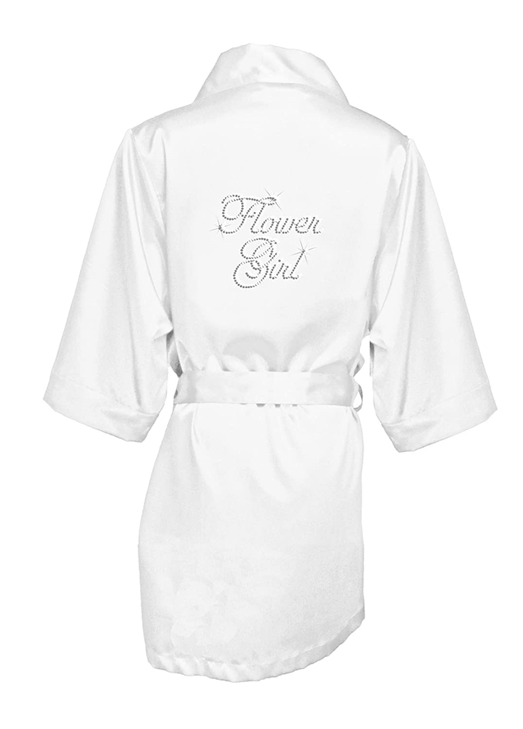 GirlEO Girl's Bridal Party Satin Robe With Flower Girl Title In Rhinestone