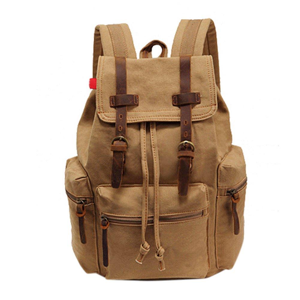Canvas Leisure Backpack Mens Shoulder Computer Bag Large Capacity Travel Casual Rucksack Army Green