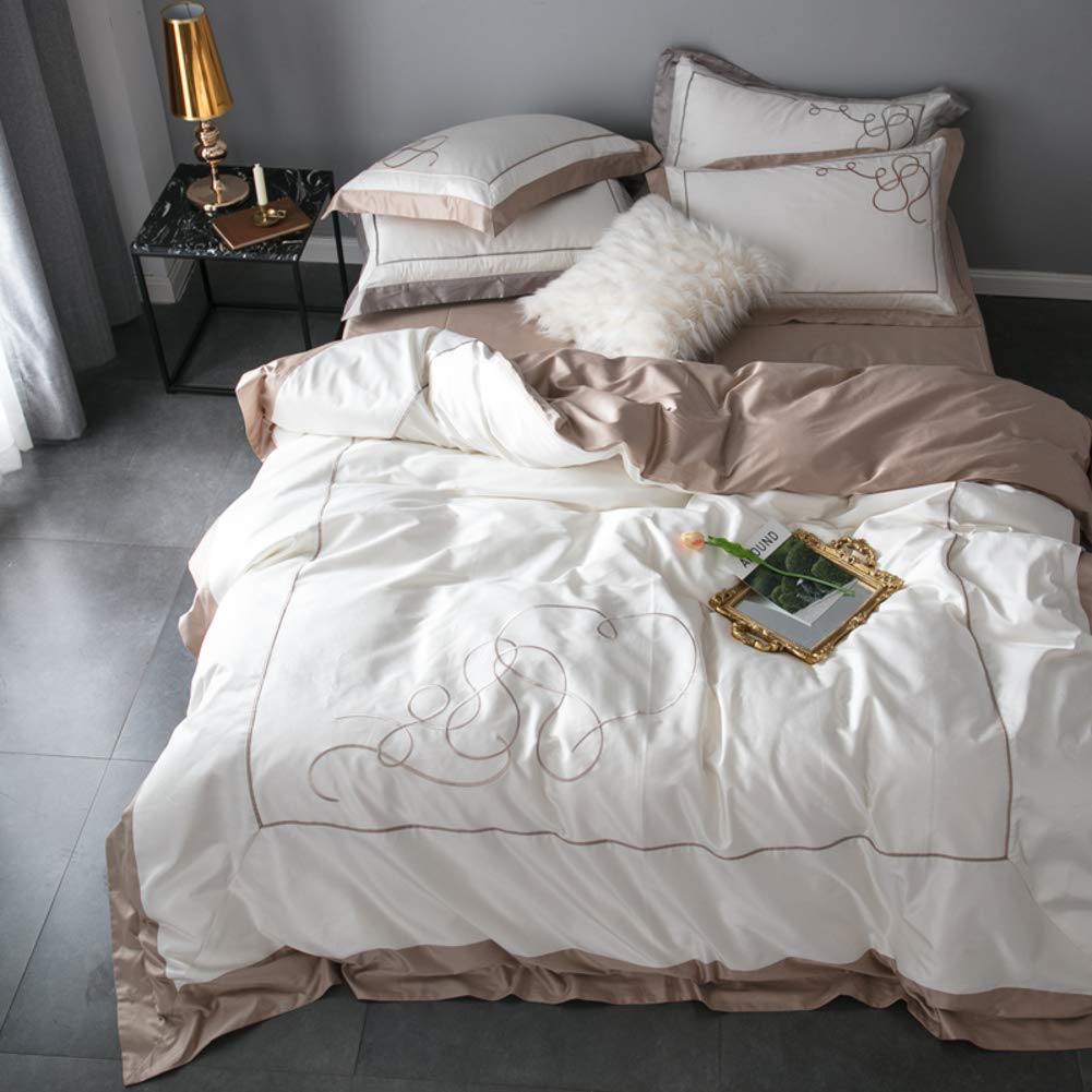 4 つの部分ヨーロッパ スタイル シンプルな綿 100 島綿サテン刺繍綿キルト カバー寝具-G 200x230cm(79x91inch) B07L7C44XH G 200x230cm(79x91inch)