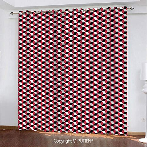 Satin Grommet Window Curtains Drapes [ Abstract,Cubes Three Dimensional Style Optical Illusion Pattern Diagonal Shapes Decorative,Dark Coral Black White ] Window Curtain for Living Room Bedroom Dorm R