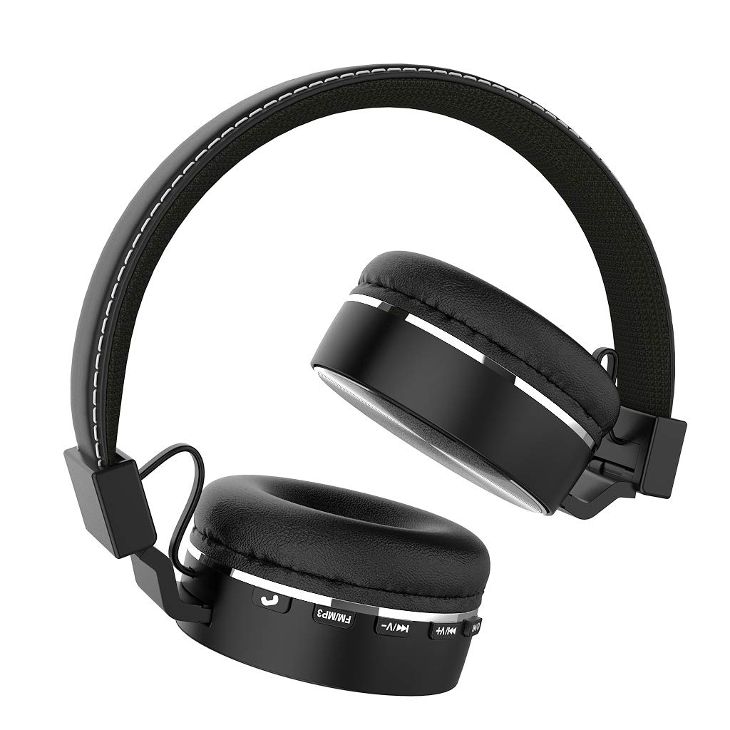 Kimitech Headphones Bluetooth Wireless Light Weight On Ear Stereo A00207 Headphones Bluetooth Headsets Foldable Headsets with Micro Support SD TF Card Black