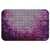 VROSELV Custom Door MatPurple Decor Collection Futuristic Bound Diagonal Bright Disco Mosaic Shine Effect Technology Themed Graphic Print Violet