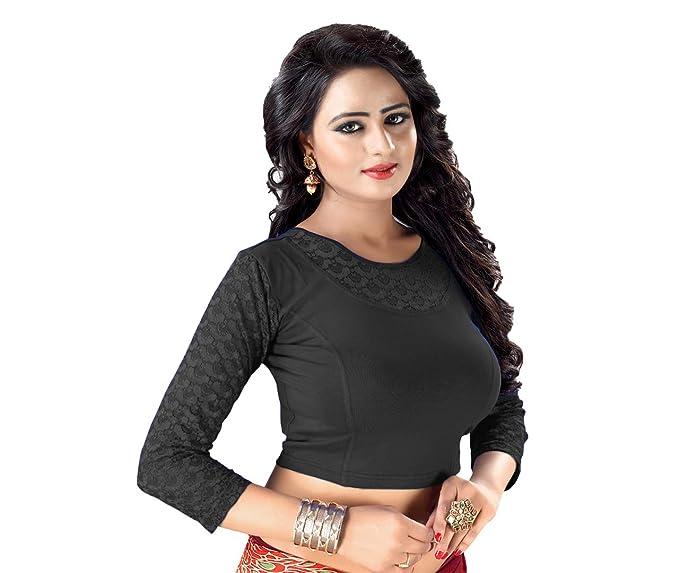 628da0fa3c29e GOGURL - YOU DESERVE THE BEST Women s Cotton Lycra Stitched Stretchable  Blouse (Black