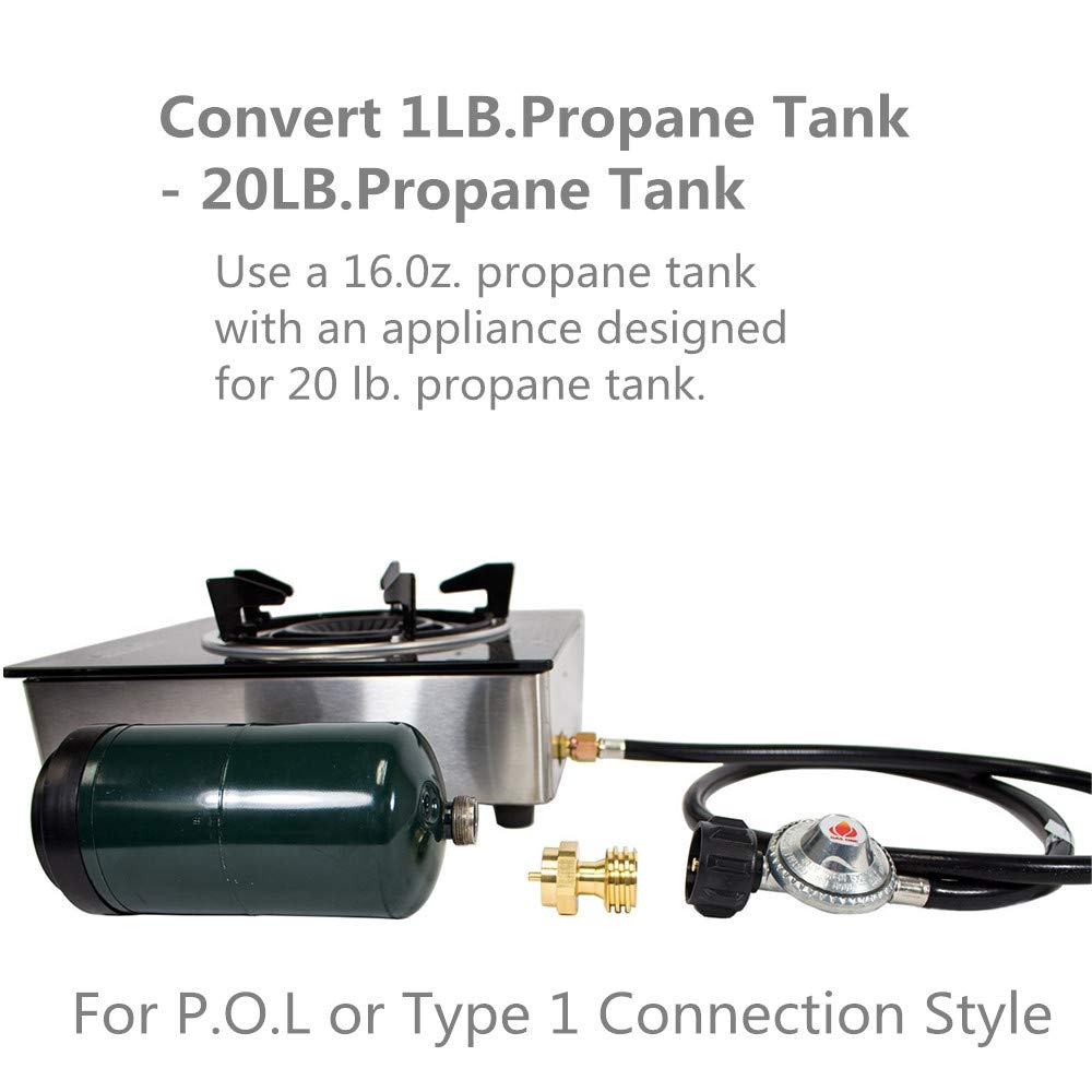 Linksworld Steak Saver Adapter Propane Tank Adapter Propane Adapter Propane Gas Grill Adapter Converter 1lb to 20lb for BBQ Grill Propane Disposable Throwaway Cylinder 20 or 30 Pound LP Gas Steel Bottle