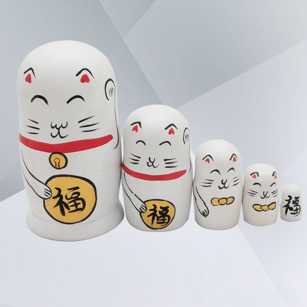 ULTNICE 5pcs Russische Matrjoschka Puppen Katzen Design Stapeln Spielzeug Puppe