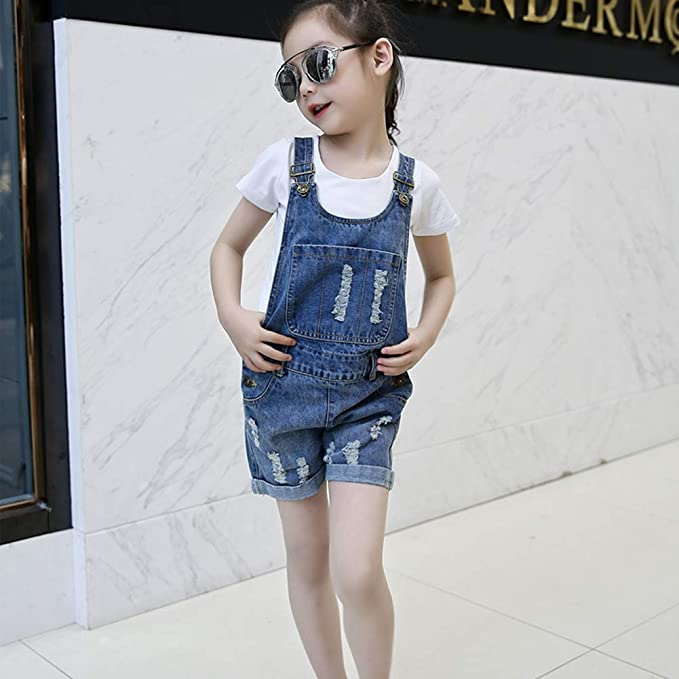 Kuriozud Kids Toddler Little Girl Overall Adjustable Straps Boyfriend Shortalls Casual Bib Shorts Summer Clothes
