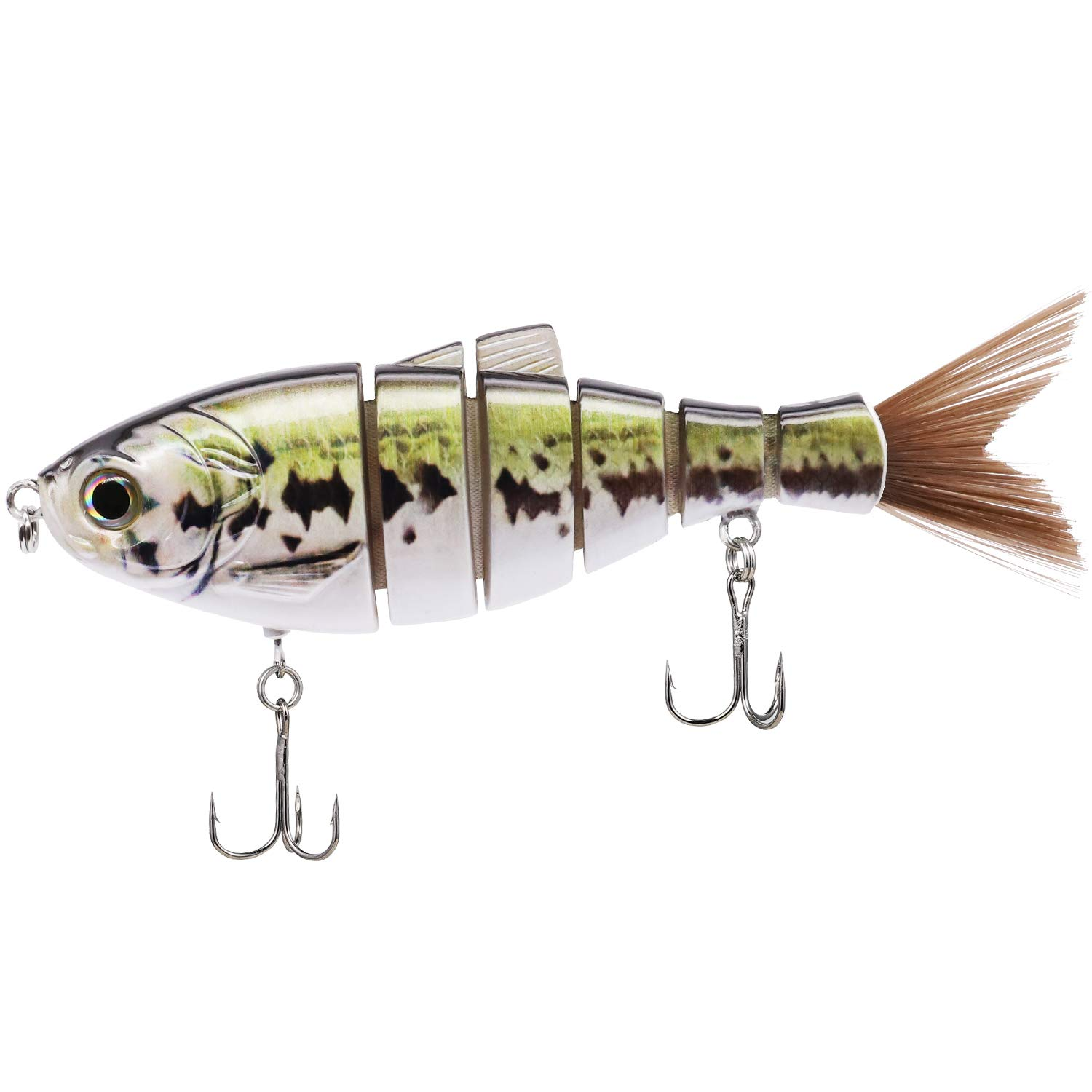 TRUSCEND Fishing Lures 6'' ~ 7'' Saltwater Freshwater Heavy-Duty Metal Jointed Swimbaits Glidebaits Hard Lures for Bass Catfish Pike Muskie Large Fish Lures Fishing Tackle Kits Lifelike (J6D05) by TRUSCEND