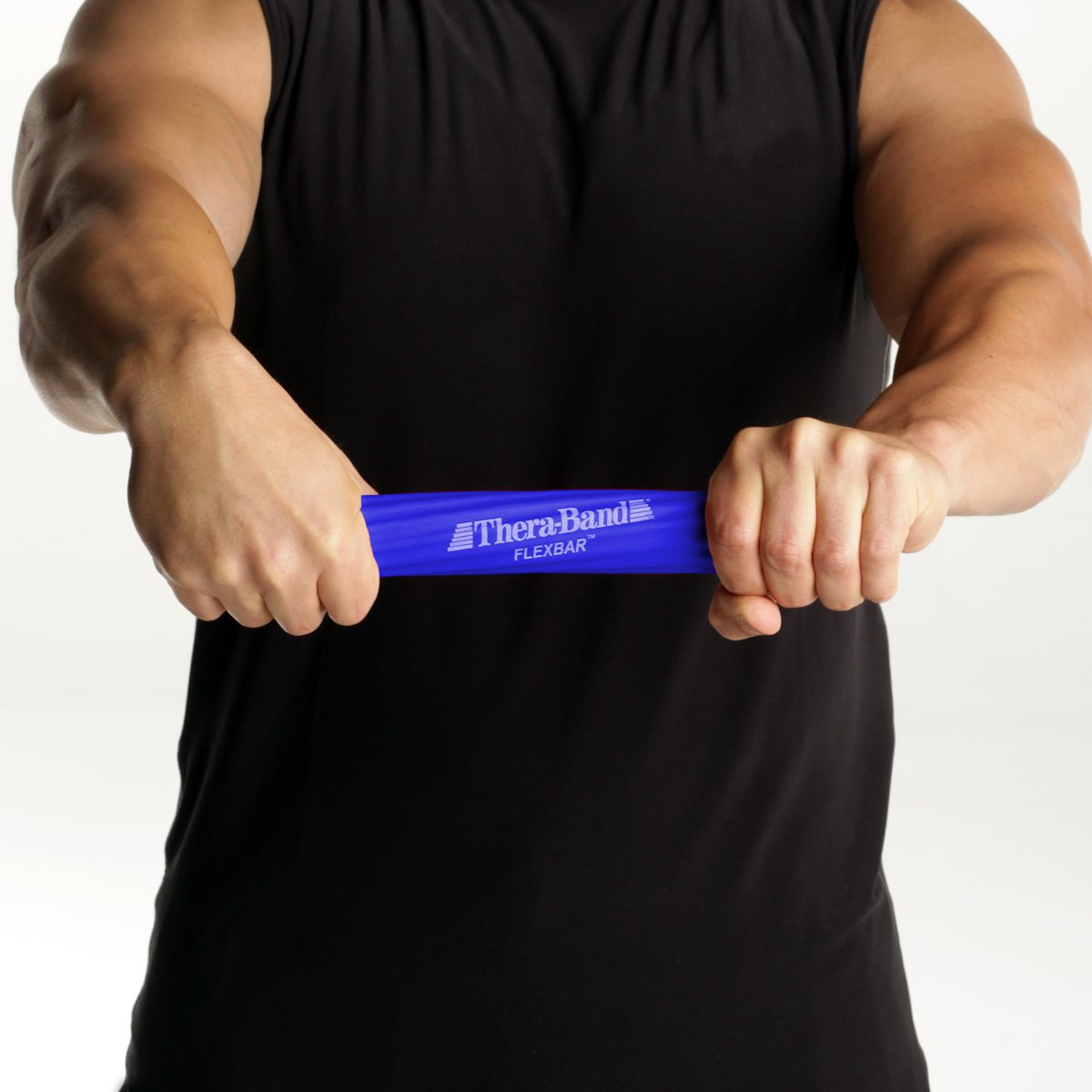 TheraBand FlexBar, Tennis Elbow Therapy Bar, Relieve Tendonitis Pain & Improve Grip Strength, Resistance Bar for Golfers Elbow & Tendinitis, Blue, Heavy, Advanced by TheraBand (Image #4)
