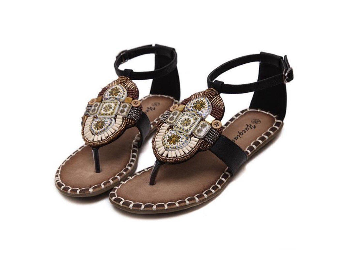 DANDANJIE Damenschuhe Frühling Sommermode Sandalen Bohemian Style für Open Toe Buckle für Style Kleid Party (Farbe : schwarz, Größe : 39) schwarz 95469b