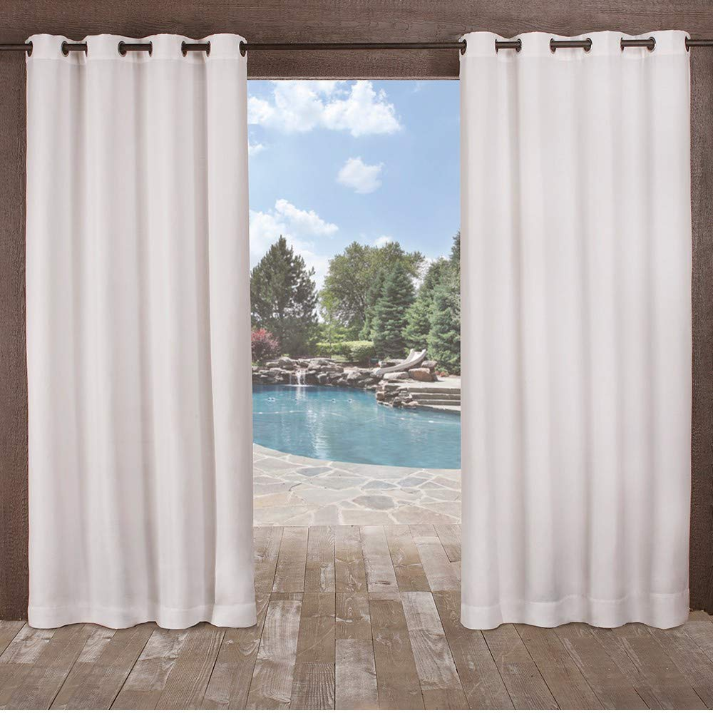 Exclusive Home Curtains Delano Heavyweight Textured Indoor/Outdoor Window Curtain Panel Pair with Grommet Top, 54x108, Winter White, 2 Piece