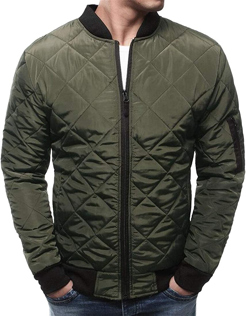 BOBOYU Mens Zip Up Winter Ultra-Thin Solid Regular Fit Down Quilted Puffer Jacket Coat Outerwear