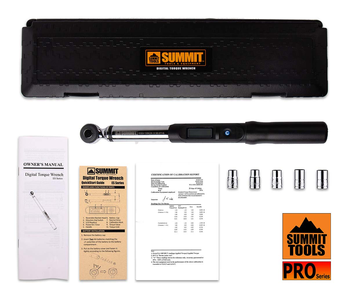 Summit Tools Digital Torque Wrench with 3/8-inch Square Driver and 5-99.5 ft-lbs Torque Range, 0.1 ft-lb Resolution, ±3% Tolerance, Peak Hold Feature, Certificate of Calibration (ES3-135CN) by Summit Tools (Image #7)